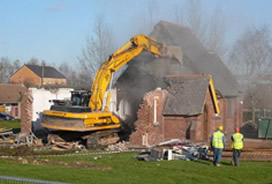 old church being knocked down